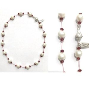 Freshwater Pearl and Garnet Necklace/Hand Knotted
